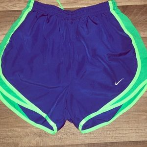 Nike royal blue and lime green athletic shorts